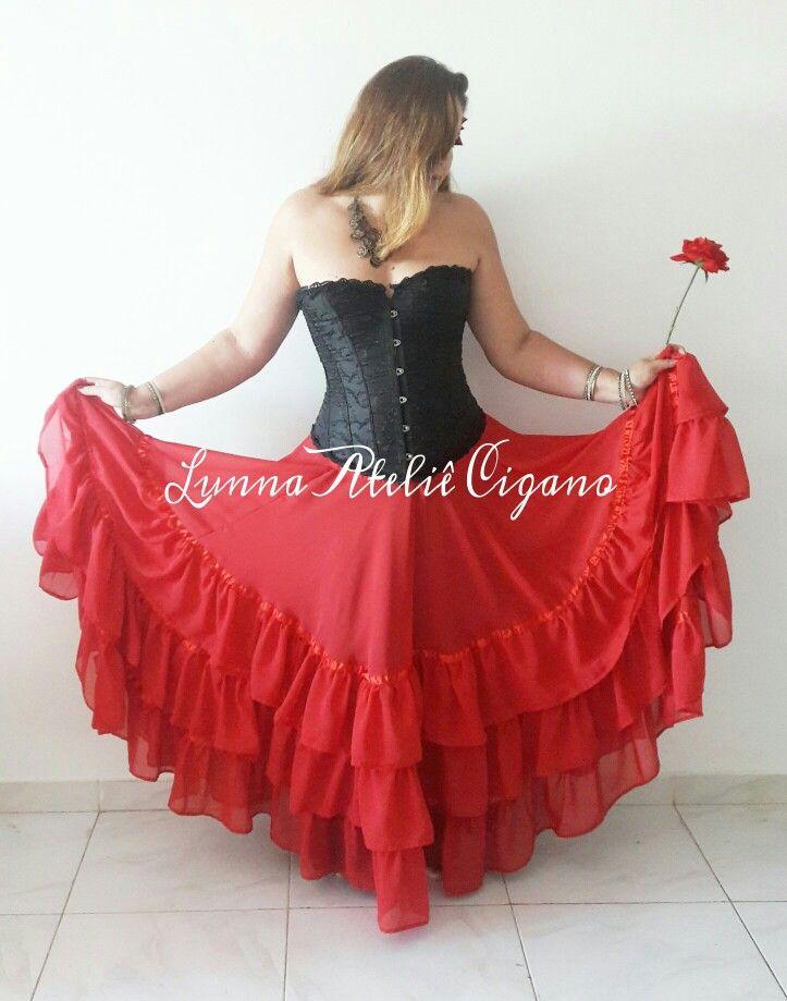 saia cigana com 3 babados gypsy skirt gypsy dance dança cigana