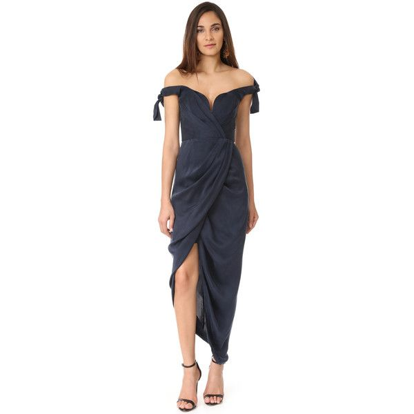 Zimmermann Winsome Drape Cocktail Midi Dress ($410) ❤ liked on Polyvore featuring dresses, navy, holiday dresses, navy blue dress, navy blue cocktail dress, off the shoulder dress and off shoulder evening dress