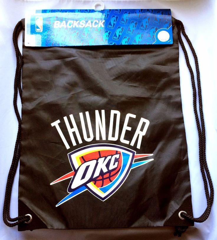 OKC Thunder Official NBA Basketball Black Backsack (Drawstring Backpack) 17x13…