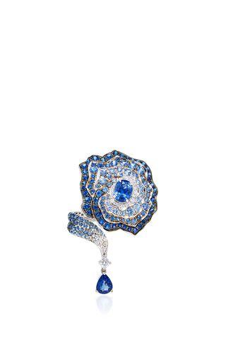 Enchanted Garden Diamonds And Blue Sapphire Ring by VANLELES for Preorder on Moda Operandi