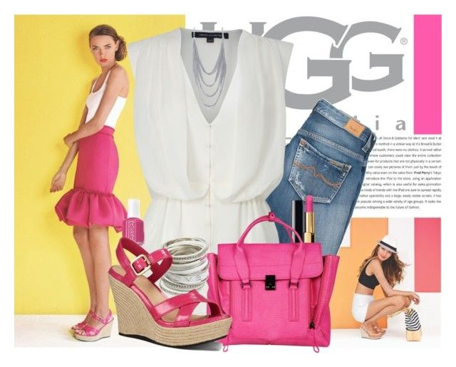 """""""Start Spring Bright with UGG"""" by everlyrose-jc ❤ liked on Polyvore featuring UGG Australia, Pepe Jeans London, French Connection, Chanel, 3.1 Phillip Lim, Essie, Wet Seal, Pink, uggs and summerstyle"""