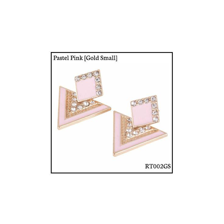 Ref: RT002GS Pastel Pink [Gold Small] . Medidas: 2.5 cm x 2 cm . So Oh: 3.99 . Disponível para entrega imediata! Boas compras! #sooh_store #onlinestore #rhombus #trigonal #brincos #earrings #fashion