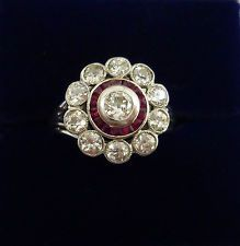 Antique Art Deco 1.00ct Diamond and Ruby Floral Cluster Ring In 18ct White Gold