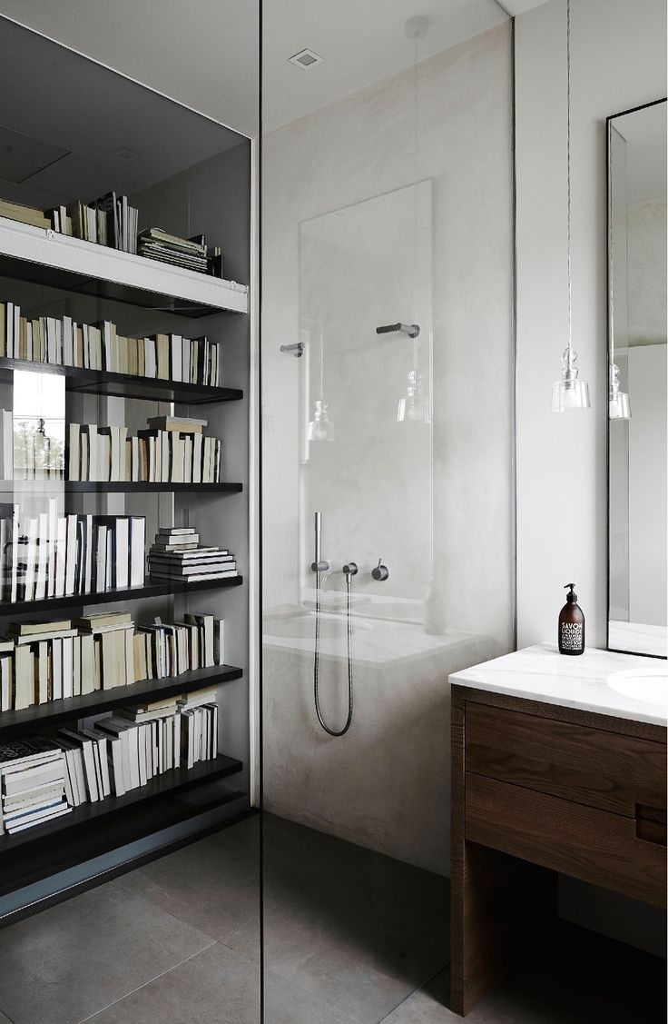 bookshelf visible in shower