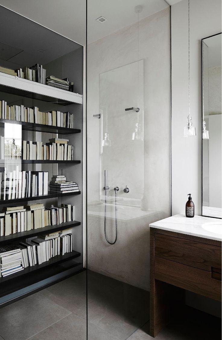 bookshelf visible in shower