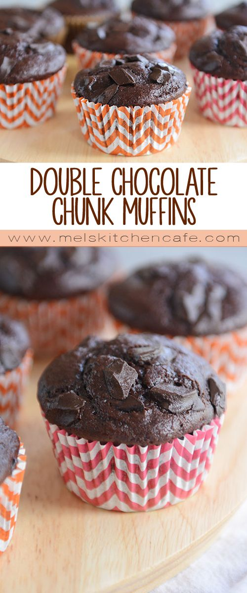 A deliciously simple recipe for soft and moist homemade double chocolate muffins with extra chocolate chunks thrown in the batter - yum!