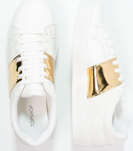 Topshop CHIME biało-złote Tenisówki i Trampki white