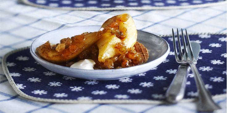 Stroopwafel met gebakken peren