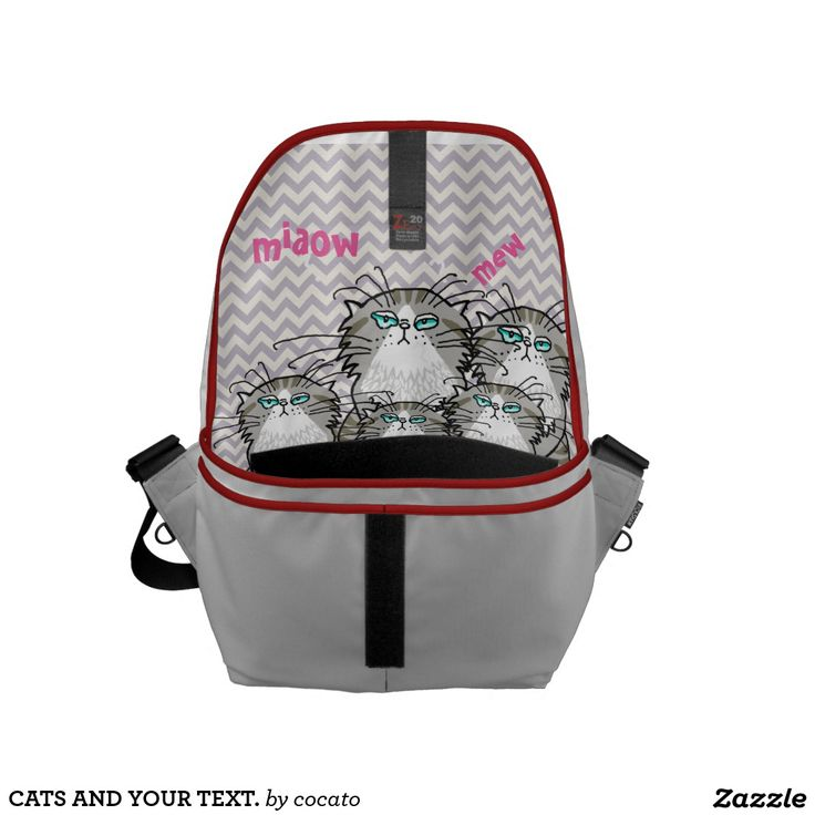 CATS AND YOUR TEXT. Cats bag.メッセンジャーバッグ