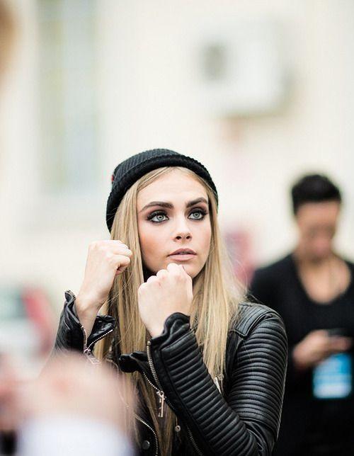 Cara Delevingne black leather makeup