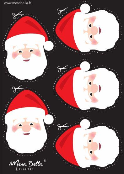 Planche tête père-Noel à imprimer et découper                                                                                                                                                                                 Plus