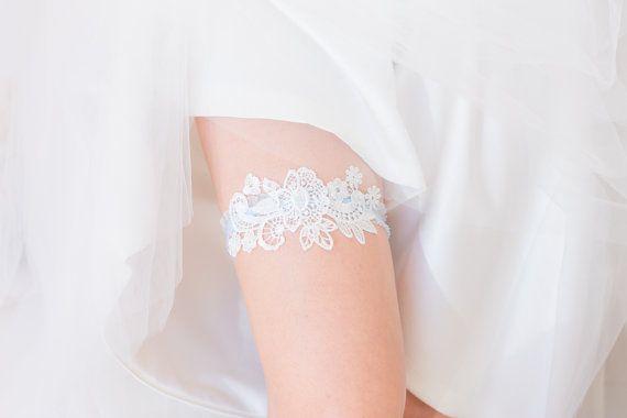 Something Blue Wedding Garter Set Wedding by TheLittleWhiteDress