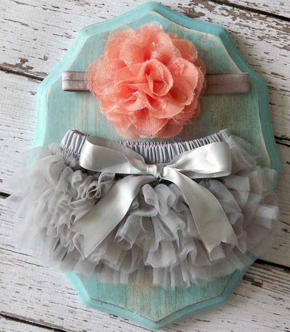 Baby Girl TuTu Bloomers Chiffon Ruffle Diaper Cover Grey Gray Peach Coral Flower Headband Set Newborn Photography Prop 0 3 6 9 12 18 months