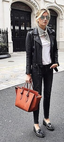 Black Jeans, Loafers, a White Tee, and a Leather Jacket
