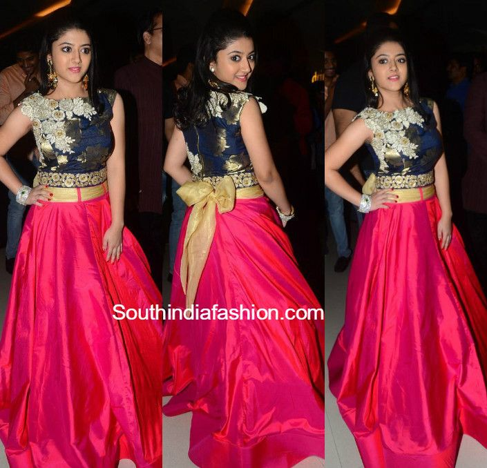 Shriya Sharma in a long skirt and crop top