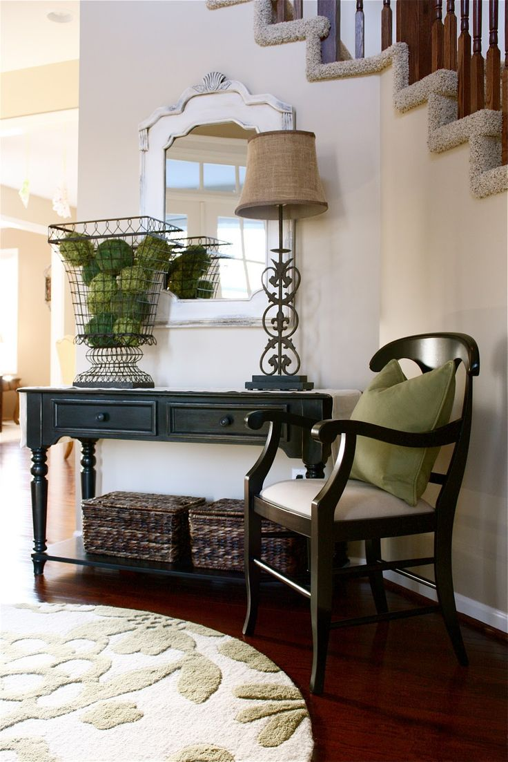 Black Console Table ~~ From The Yellow Cape Cod: Client Project~foyer~before  And After
