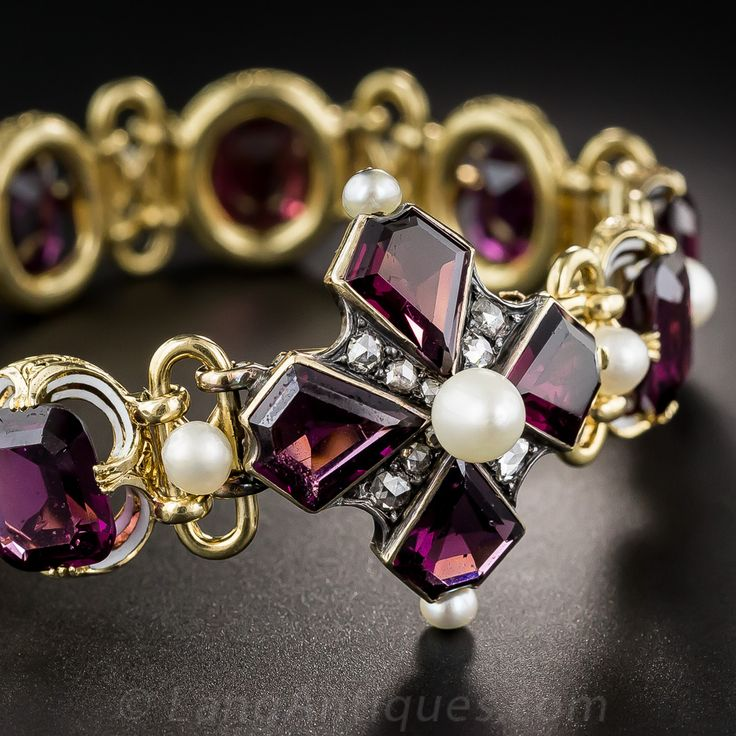 French Antique Garnet, Pearl and Enamel Bracelet - 40-1-4638 - Lang Antiques