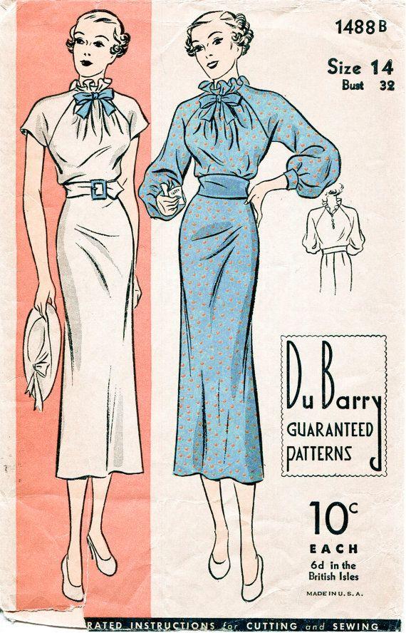 1930s 30s DuBarry 1488 vintage repro sewing pattern women's day dress short or long raglan sleeve ruffle neckline cinched waist bust 32 b32