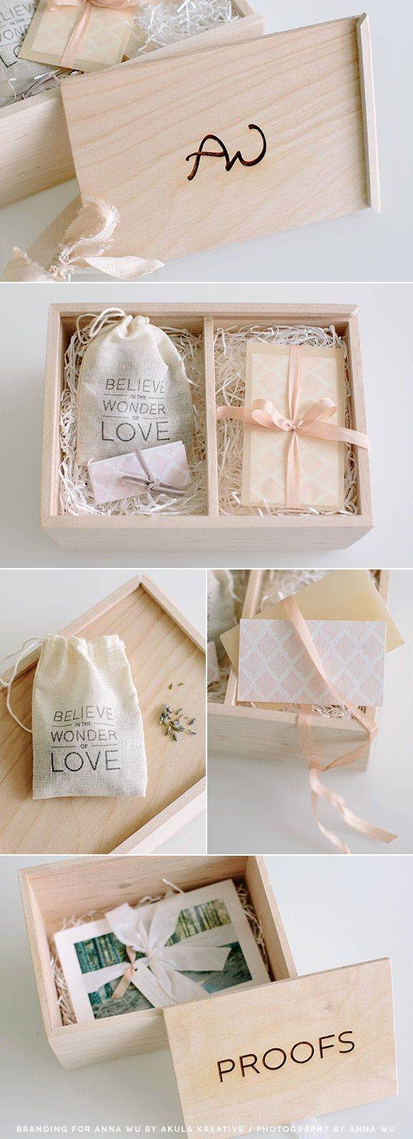 Anna Wu Photography Packaging Suite // engraved wooden box, branded gift tags and thank you card, silk and velvet ribbons...plus a hidden compartment for prints // Akula Kreative