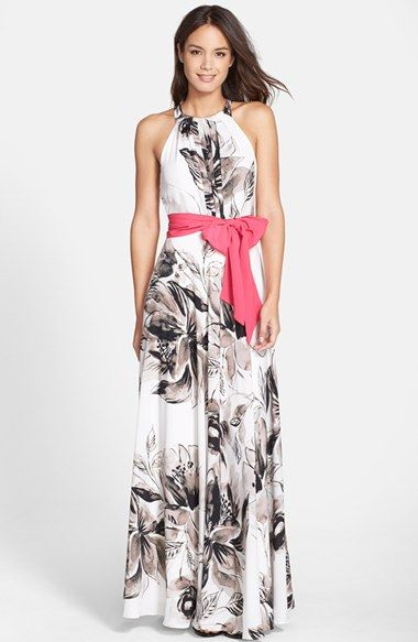 Free shipping and returns on Eliza J Print Chiffon Maxi Dress (Regular & Petite) at Nordstrom.com. Soft greyscale flowers pattern this flowy chiffon gown designed with kinetic pleats and a vibrant waist-defining sash.