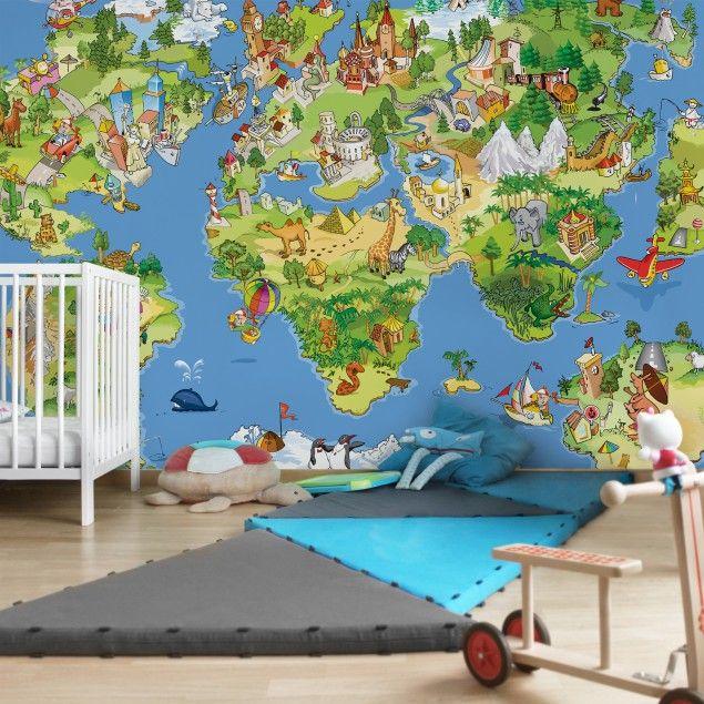 Gestreifte Tapeten Esprit : Kindertapeten – Vliestapeten – Great And Funny #Worldmap – Fototapete