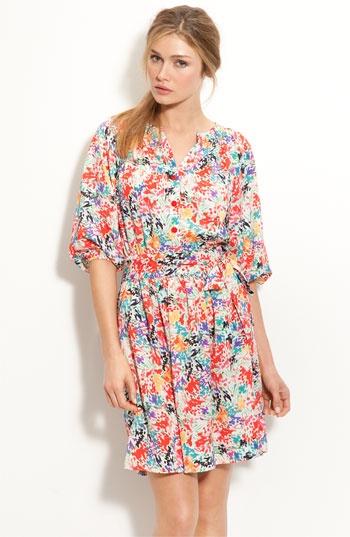 Eliza J Print Crêpe de Chine Shirt Dress