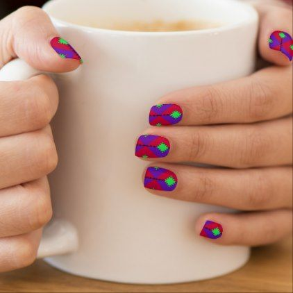 Abstract Purple Green and Pink Pattern Minx Nail Art - individual customized unique ideas designs custom gift ideas