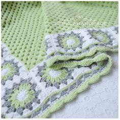 Inspiration :: Baby blanket in light green, light gray, & soft white (no specific pattern)  . . . .   ღTrish W ~ http://www.pinterest.com/trishw/  . . . .   #crochet #afghan #throw #granny_square