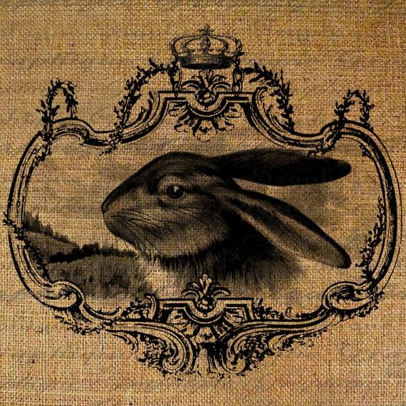 Easter Gorgeous Rabbit Face In Crown Frame Digital Image Download Pillows Tote Tea Towels Burlap No. 1938