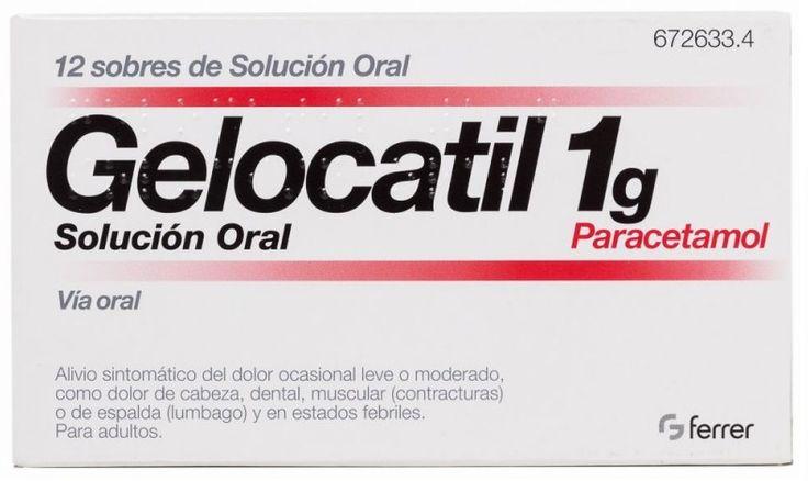 Gelocatil, PA: Paracetamol. Analgésico y antipirético. Inhibe la síntesis de prostaglandinas en el SNC y bloquea la generación del impulso doloroso a nivel periférico. Actúa sobre el centro hipotalámico regulador de la temperatura.