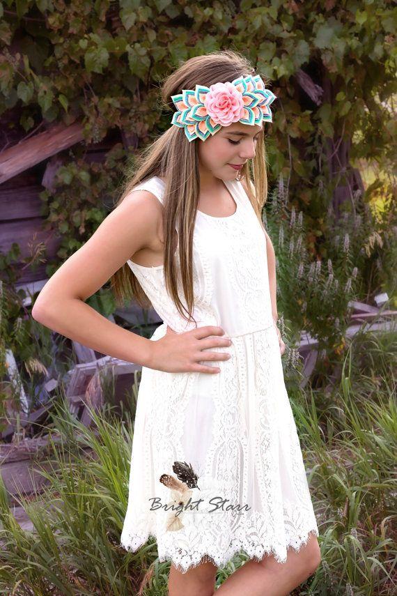 Felt headband  flower headband  handmade by BrightStarrCoutureCo