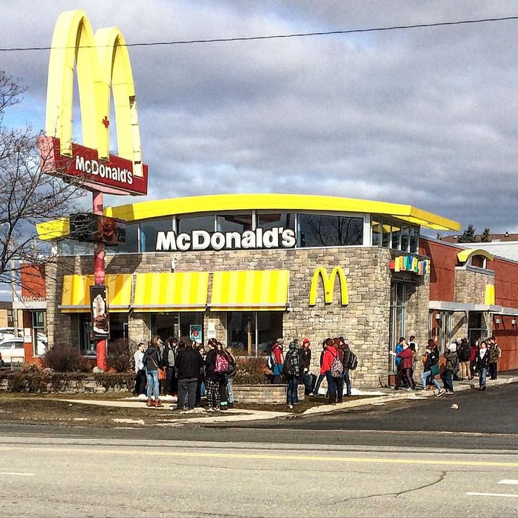 If you live in my lovely city you may recognize this image as a daily sight. Every weekday high school kids swarm on the local Micky D's during lunch hours.  SO MANY KIDS. It's kind of insane. And horrifying that this many kids are eating McDonald's every day for lunch.  The foods our children eat have a MASSIVE impact on their health and to me this scene isn't looking so good.  What do you think?