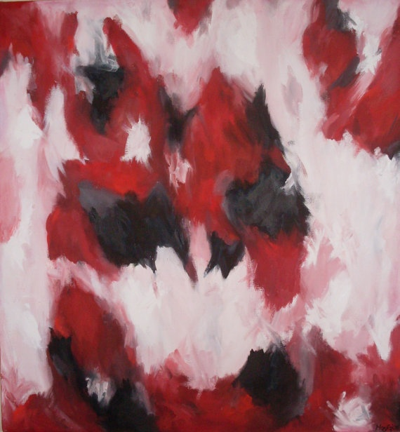 Original Oil Painting  Red White & Black by DesignsbyMaryG on Etsy, $250.00