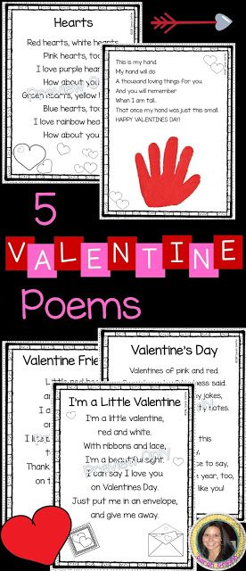 5 Valentine's Day Poems for Kids | Hearts | Handprint poem | Friendship | I'm a Little Valentine | printable