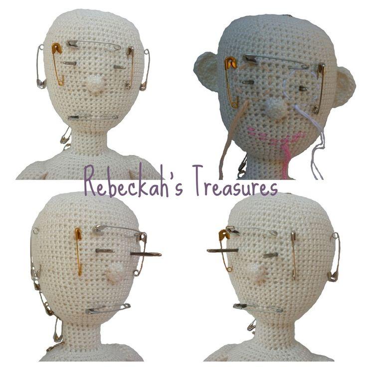 WIP Crochet Amigurumi Dolly by Rebeckah's Treasures ~ Face Mapping