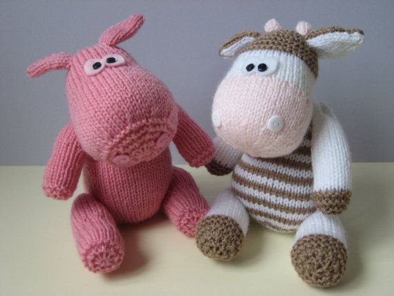 Chutney Cow and Pickles Pig toy knitting patterns by fluffandfuzz