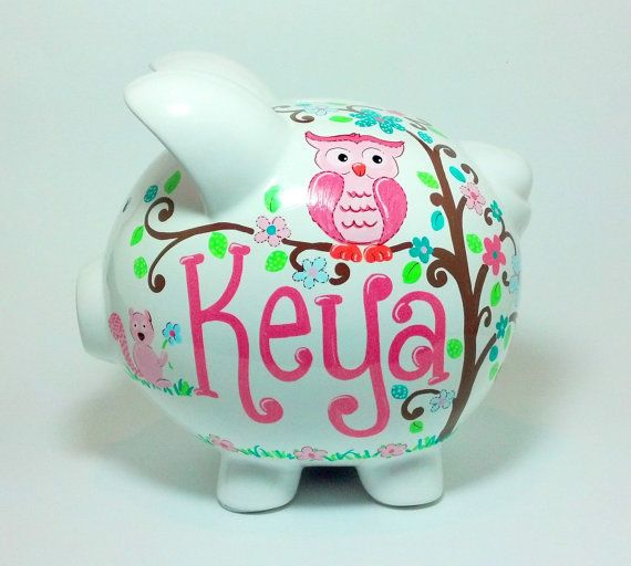 Owl+Piggy+Bank++Personalized+Handpainted++Large+by+SamselDesigns,+$35.00