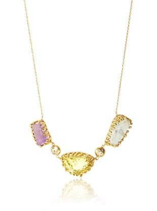Indulgems Raw Lemon Quartz, Green Amethyst, Pink Amethyst Necklace