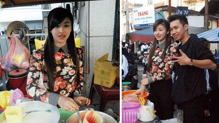 Cewek cantik rambut panjang, bekerja sebagai penjual es