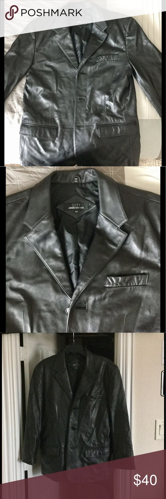 Men's Leather Blazer Jones New York Mens leather blazer- fits for a size medium. High Quality Leather. Jones New York Jackets & Coats