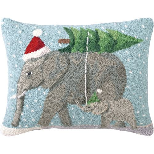 Found it at Wayfair - Christmas Elephants Hook Wool Throw Pillow