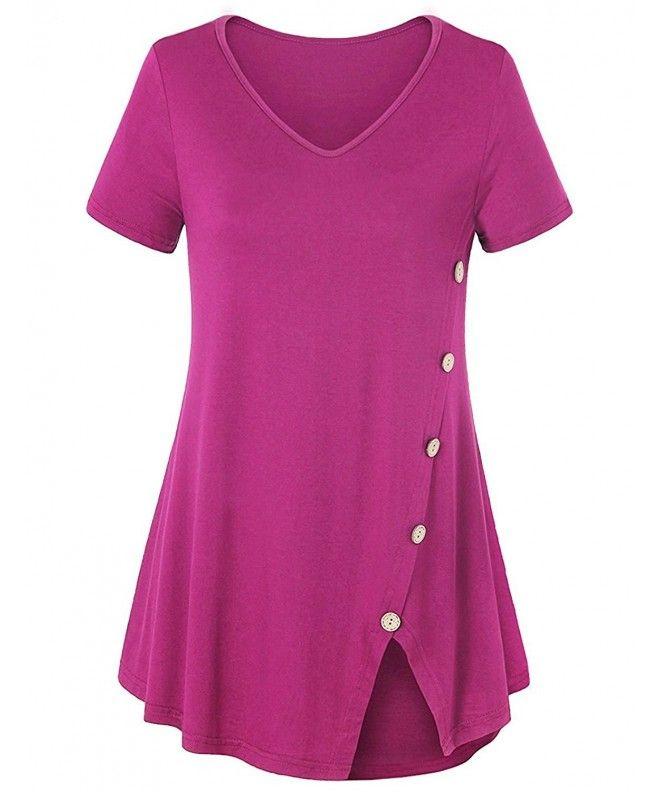 0452bc136ca71 Womens Casual Tunic Tops Short Sleeve Flowy V Neck Side Button Blouses T- Shirts - Red - C118C4TWGO5