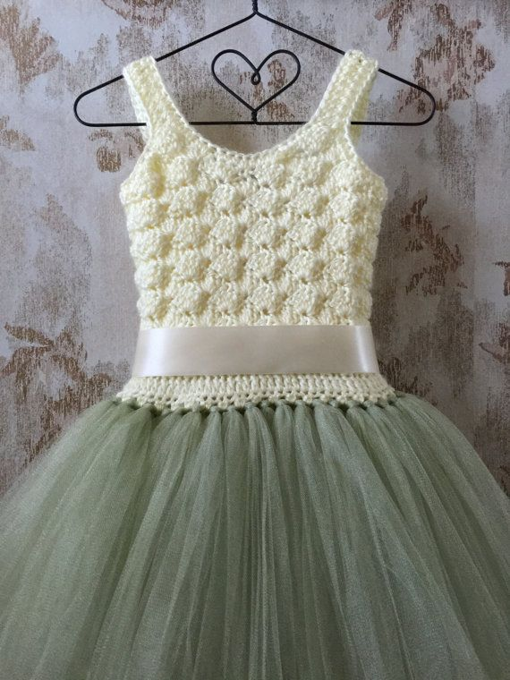 Ivory and light sage flower girl tutu dress. Baby toddler by Qt2t