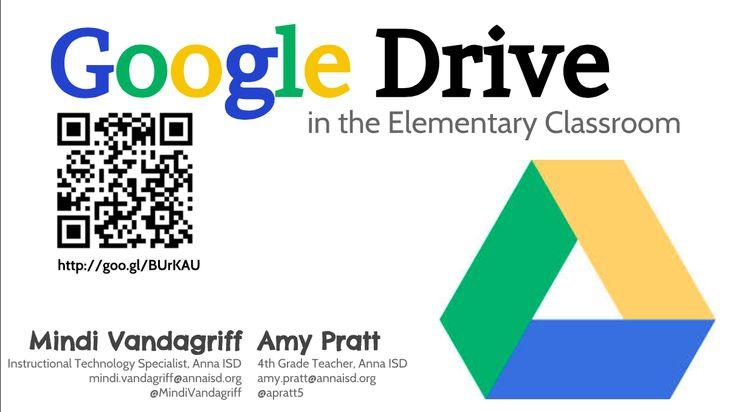 Google Drive in the Elementary Classroom (mots of ideas and samples for students and teachers): https://docs.google.com/presentation/d/1UNtNCT8NlXxU9qF5nFJGw3BjwqcDMdjv8WGA-ufj8P0/mobilepresent?pli=1&slide=id.g3ebefa550_03
