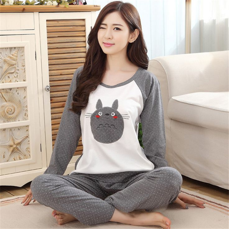 Otoño y Primavera Pijamas De Algodón Mujeres Totoro Pijama de Dibujos Animados ropa de Dormir Pijamas para mujeres mujer chica