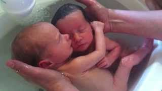 BATHING TWINS: Rochel Sonia - Socially, young children and particularly infants tend to focus on the adults who are close to them and become bonded to a small group of people early in life- mainly the people who care for them. This forms the basis for attachment which is the strong emotional tie felt between the infant and significant other. The quality of attachments depends upon the adults.
