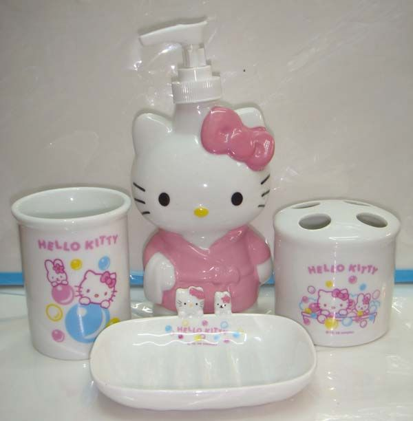Captivating Hello Kitty Bathroom Set ~ Soap Dispenser, Toothbrush Holder, Soap Dish,  And Cup