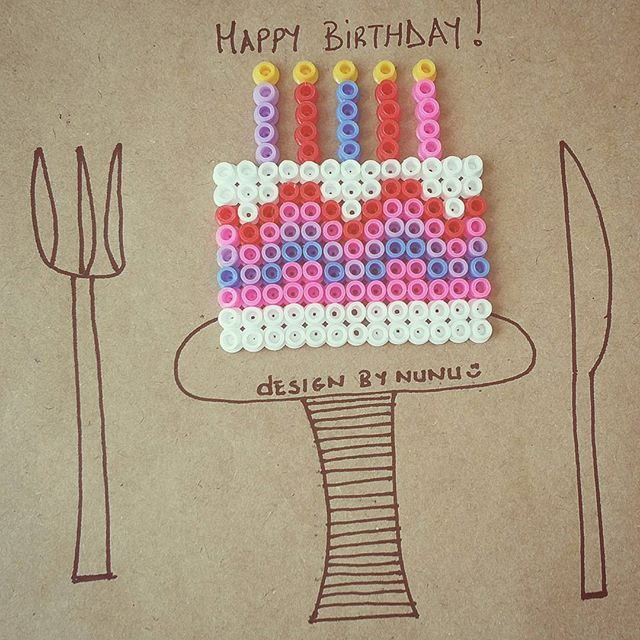 Birthday cake hama beads by nursenturk -designbynunu