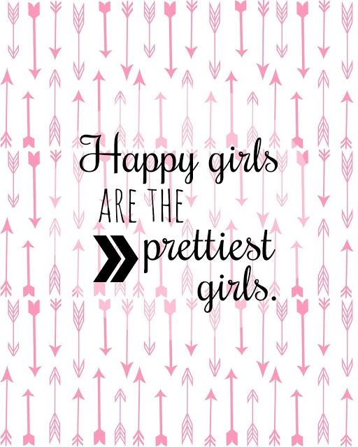 "free printable ""Happy girls are the prettiest girls"" Audrey Hepburn"