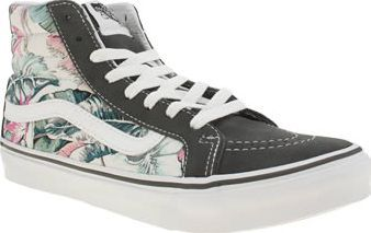 Vans Multi Sk8-hi Slim Tropical Womens Trainers Breeze into summer with the Vans Sk8-Hi Slim Tropical. The iconic hi-top skate profile arrives in grey suede, joined with multi-coloured printed fabric panels and signature Sidestripe branding in whit http://www.comparestoreprices.co.uk/january-2017-8/vans-multi-sk8-hi-slim-tropical-womens-trainers.asp